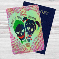 Harley Quinn and Joker Suicide Squad Custom Leather Passport Wallet Case Cover
