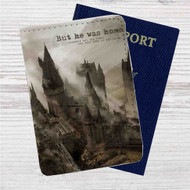 Hogwarts But He Was Home Custom Leather Passport Wallet Case Cover