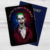 Jared Leto as Joker Suicide Squad Quotes Custom Leather Passport Wallet Case Cover