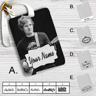 Ed Sheeran With Guitar Custom Leather Luggage Tag