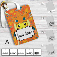 Pikachu as Mega Charizard Pokemon Custom Leather Luggage Tag