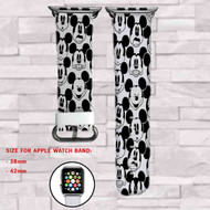 All Face Mickey Mouse Disney Custom Apple Watch Band Leather Strap Wrist Band Replacement 38mm 42mm