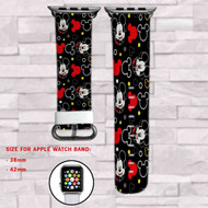 Black Mickey Mouse Custom Apple Watch Band Leather Strap Wrist Band Replacement 38mm 42mm