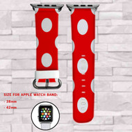 Minnie Mouse Polka Dot Custom Apple Watch Band Leather Strap Wrist Band Replacement 38mm 42mm