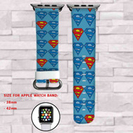 Superman Custom Apple Watch Band Leather Strap Wrist Band Replacement 38mm 42mm