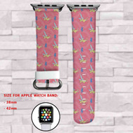 Tinkerbell Disney Pink Custom Apple Watch Band Leather Strap Wrist Band Replacement 38mm 42mm