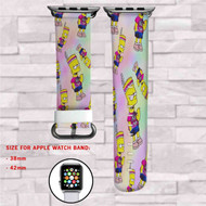 Bart The Simpsons Custom Apple Watch Band Leather Strap Wrist Band Replacement 38mm 42mm