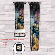 Booster Gold DC Comics Custom Apple Watch Band Leather Strap Wrist Band Replacement 38mm 42mm