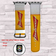 Budweiser Beer Custom Apple Watch Band Leather Strap Wrist Band Replacement 38mm 42mm