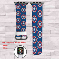 Captain America Shield Logo Pattern Custom Apple Watch Band Leather Strap Wrist Band Replacement 38mm 42mm
