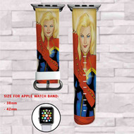Captain Marvel Custom Apple Watch Band Leather Strap Wrist Band Replacement 38mm 42mm