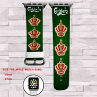 Carlsberg Beer Custom Apple Watch Band Leather Strap Wrist Band Replacement 38mm 42mm