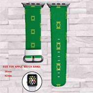 Green Lantern Logo Pattern Custom Apple Watch Band Leather Strap Wrist Band Replacement 38mm 42mm