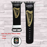 Guiness Draught Beer Custom Apple Watch Band Leather Strap Wrist Band Replacement 38mm 42mm