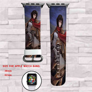 Attack on Titans Shingeki no Kyojin MIkasa Ackerman Custom Apple Watch Band Leather Strap Wrist Band Replacement 38mm 42mm