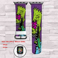bart Simpsons Zombie Custom Apple Watch Band Leather Strap Wrist Band Replacement 38mm 42mm