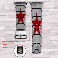 Bucky Barnes Red Star Civil War Custom Apple Watch Band Leather Strap Wrist Band Replacement 38mm 42mm