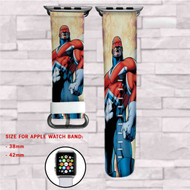Captain Britain Marvel Custom Apple Watch Band Leather Strap Wrist Band Replacement 38mm 42mm