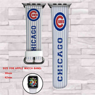 Chicago Cubs MLB Custom Apple Watch Band Leather Strap Wrist Band Replacement 38mm 42mm