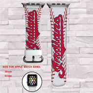 Cleveland Indians MLB Custom Apple Watch Band Leather Strap Wrist Band Replacement 38mm 42mm