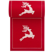 Red with White Reindeer Cotton Printed Cocktail Napkin