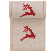 Natural with Red Reindeer Linen Printed Cocktail Napkin