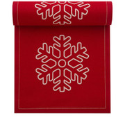 Red with Snowflake Cotton Printed Luncheon Napkin