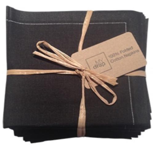 Black Cotton Folded Napkin
