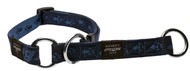 Rogz Alpinist Medium 16mm Matterhorn Web Half-Check Dog Collar, Blue Rogz Design(HBC23-B)