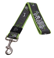 Rogz Fancy Dress Extra Extra Large 40mm Special Agent Fixed Dog Lead, Lime Bone Design(HL04-BL)