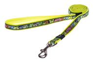 Rogz Fancy Dress Medium 16mm Scooter Fixed Dog Lead, Dayglo Floral Design(HL12-BU)