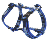 Rogz Fancy Dress Medium 16mm Scooter Dog H-Harness, Indigo Bone Design
