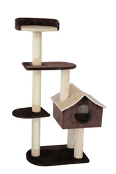 cb pluto cat tree brown&beige w/house med