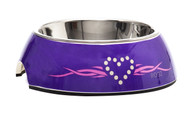 Rogz 2-in-1 Small 160ml Bubble Dog Bowl,Purple Chrome Design