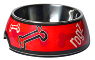 Rogz 2-in-1 Bubble Dog Bowl, Red Rogz Bones Design