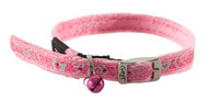 Rogz Catz SparkleCat Small 11mm Designer Cat Collars are fully adjustable for a neck size from 20-31cm and are fitted with the new metal pin-buckle, which is a definite trend-setter amongst the feline population. With its color-coded and removable bell, satin-weave nylon webbing with a 'blingy' overlay print, your cat will feel at home on the catwalks of Paris and Milan.  All SparkleCat collars are scratch-resistant and their rolled edges are stitched as well to ensure no open ends or sharp edges on the product. Suitable for most cat breeds and sizes.