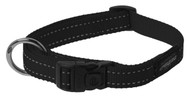 Rogz Utility Large 20mm Fanbelt Dog Collar, Black Reflective(HB06-A)