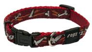Rogz Fancy Dress Medium 16mm Scooter Dog Collar, Red Bones Design(HB12-X)