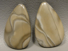 Polish Flint Matched Pair Stone Cabochon Semi Precious Designer Gemstone 1