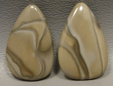 Polish Flint Matched Pair Stone Cabochon Semi Precious Designer Gemstone 16