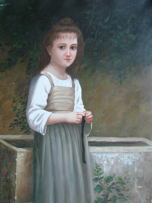 Medium sized painting of a child, stretched canvas but without frame, by Mascas.  A young child stands outside in a light green and beige dress.