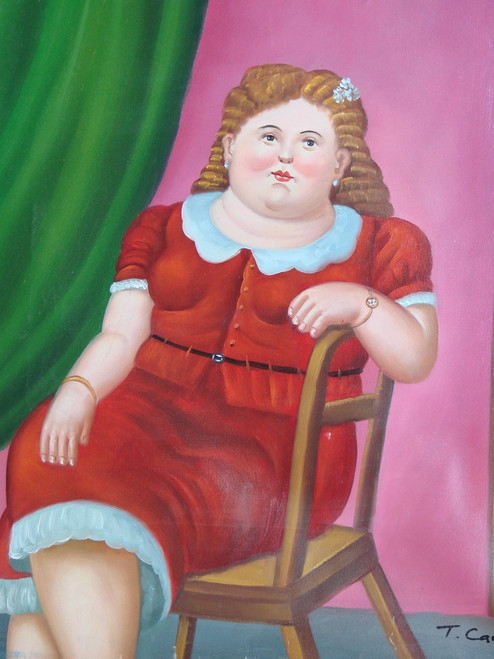 Painting of a person, stretched canvas but without frame, by T. Carter.   Portrait of a woman in a red dress with curly light brown hair with a pink and green backdrop.
