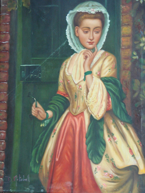 Small painting of a person, stretched canvas but without frame, by D. Mitchell.  A woman in a gold and red dress, with green shawl, stands in front of a green, wooden door.