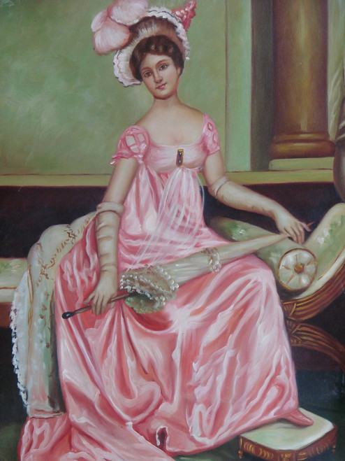 Small painting of a person, stretched canvas but without frame, by J. Watson.  A portrait of a Victorian woman dressed in pink, holding a cloth umbrella.