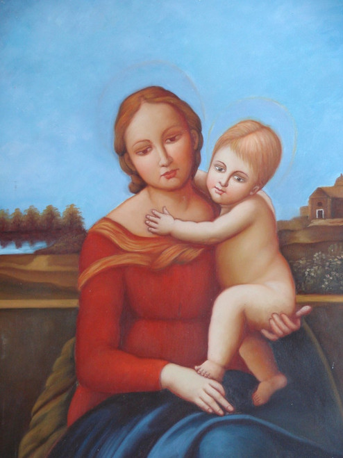 Small painting of a person, stretched canvas but without frame, by N. de Franc.  A religious woman dressed in red and blue robes holds an unclothed child.