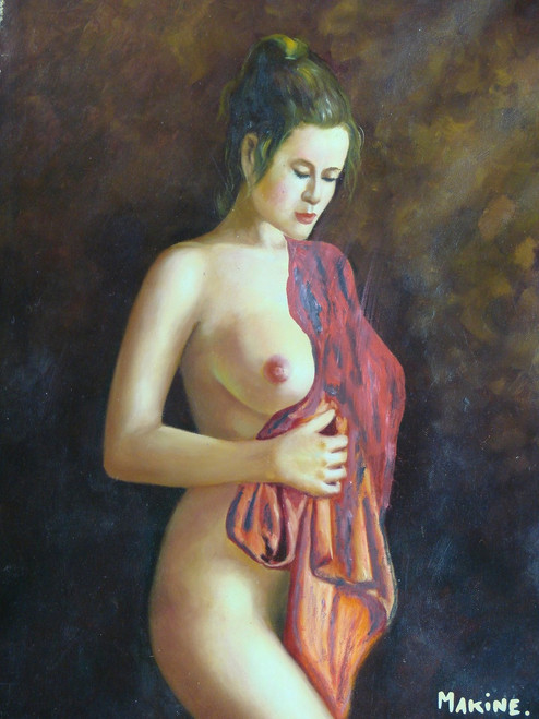 Small, painting of a person, stretched canvas but without frame, by Makine.  A nude woman stands with a red cloth draped over her shoulder.