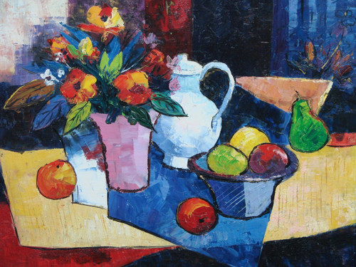 Beautiful, medium sized, still life oil painting, stretched canvas but without frame, unsigned.  A white pitcher and pastel pink vase with orange flowers are surrounded by apples and pears, on a wooden table draped with a small, blue cloth.