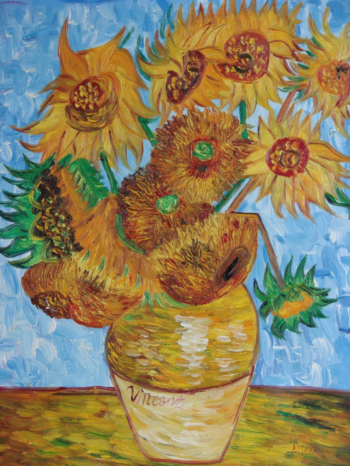 Still life oil painting, stretched canvas but without frame, signed by Mickail.  Golden yellow sunflowers fill a brown vase in front of a bright blue background in this large Van Gogh inspired painting.