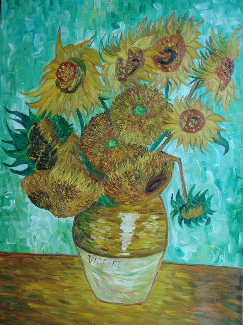 Still life oil painting, stretched canvas but without frame, signed by Raspail.  Dark yellow sunflowers fill a brown vase and sit against a teal background in this large Van Gogh inspired painting.
