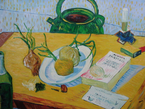 Large, still life oil painting, stretched canvas but without frame, signed by Mickail.  Onions sit atop a wooden table alongside books, a dark green kettle, and green, glass bottle.
